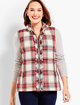Ruffle-Front Puffer Vest - Plaid