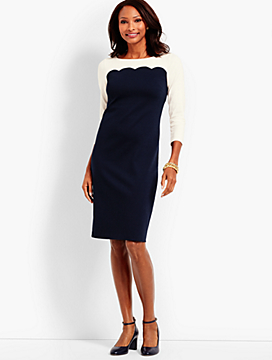 Scalloped Colorblock Ponte Shift Dress