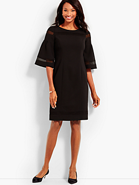 Flounce-Sleeve Crepe Sheath Dress