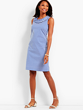 Pleat-Neck Shift-Gingham