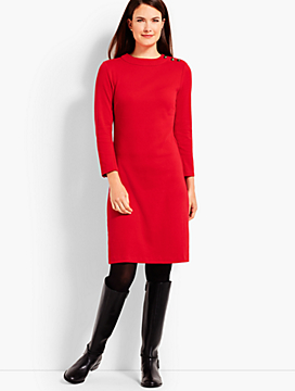 Solid Mockneck Knit Shift Dress