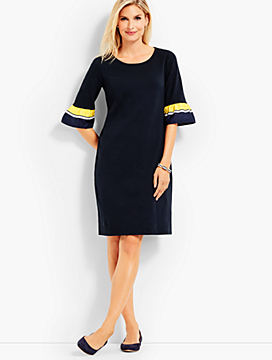 Stripe-Sleeve Shift Dress