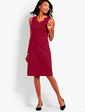 Scallop V-Neck Sheath Dress