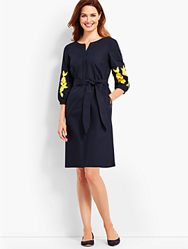 Embroidered Sleeve Poplin Shift Dress