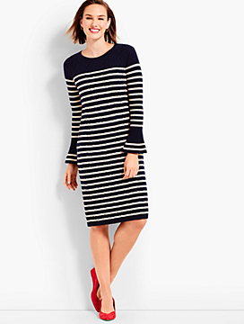 Stripe Cable Knit Shift Dress
