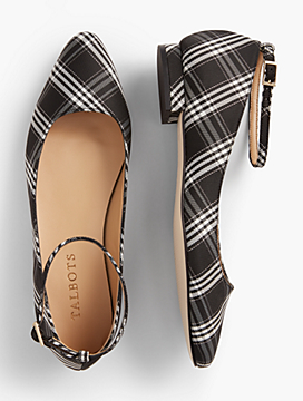 Edison Plaid Ankle-Strap Flats