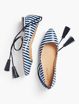 Edison Tasseled Ankle-Wrap Flats - Striped