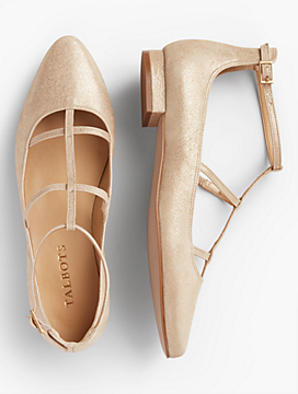 Edison Metallic Suede Strappy Flats