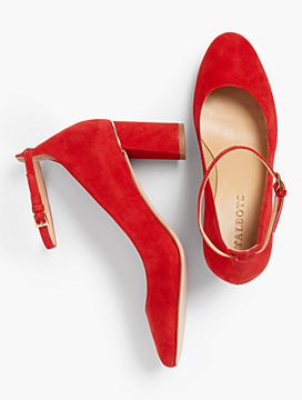 Ellery Ankle-Strap Pumps - Kid Suede/ Poppy Red
