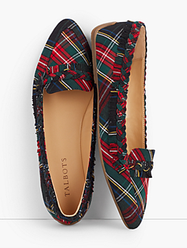 Francesca Plaid Fringe Driving Flats