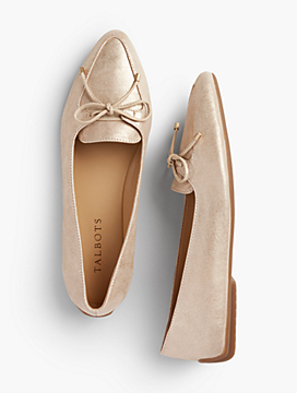 Francesca Bow-Front Driving Flats - Metallic Suede