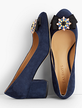 Isa Brooch & Suede Block Heel Pumps