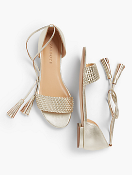Keri Tasseled Ankle-Strap Sandals - Gold