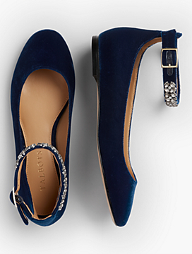 Olympia Velvet Jeweled Ankle-Strap Flat