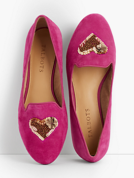Ryan Suede Loafers-Heart-Embellished