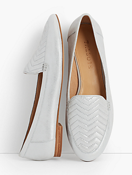 Ryan Leather Loafers- Chevron-Quilted/Suede Metallic