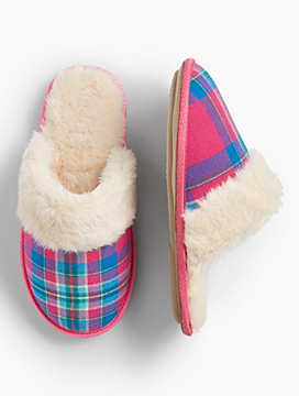 Hot Toddy Plaid Scuff Slippers