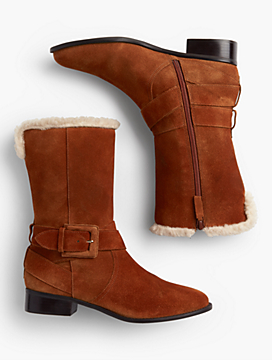Tish Suede Wrap Buckle Boots