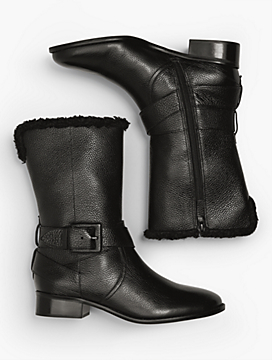 Tish Pebbled Leather Wrap Buckle Boots