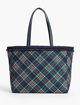 Plaid Fringe-Trim Tote