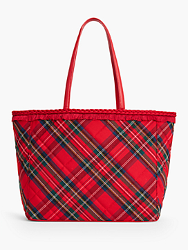 Holiday Plaid Fringe-Trim Tote