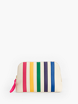 Canvas Stripe Makeup Pouch