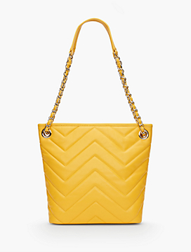 Chevron-Quilted Small Crossbody Bucket Bag