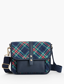 Quilted Nylon Indigo Plaid Crossbody Bag