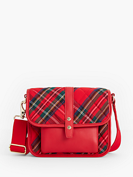 Quilted Nylon Red Plaid Crossbody Bag