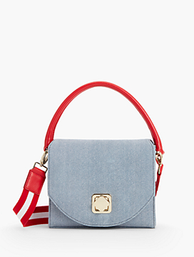 Sueded Denim Crossbody Bag
