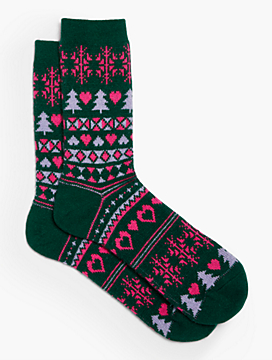 Fair Isle Holiday Tree Trouser Sock