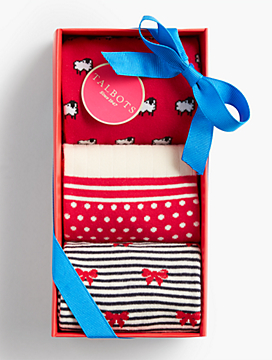 Holiday Sock 3-Pack Gift Set - Sheep, Dots & Stripes