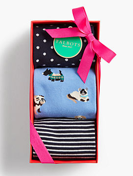Holiday Sock 3-Pack Gift Set - Dogs, Dots & Stripes