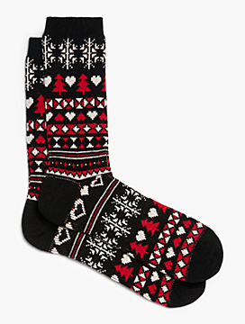 Womans Plus Exclusive Fair Isle Holiday Tree Trouser Sock