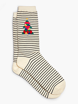 Womans Plus Exclusive Geometric Holiday Tree Trouser Sock