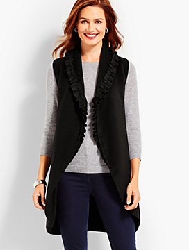 Ruffled Shawl-Collar Vest