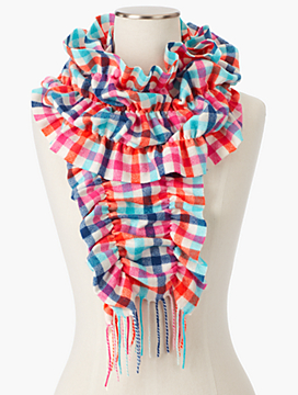 Cashmere Tattersall Plaid Scrunch Wrap