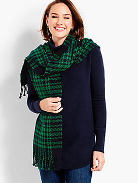 Plaid Fringe Wrap