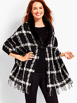 Lurex® Windowpane Plaid Faux-Fur Wrap