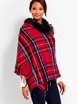 Tartan Plaid Faux-Fur Wrap
