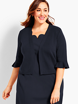 Womans Exclusive Flutter-Sleeve Dress Shrug