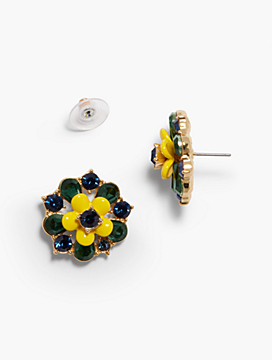 Enamel & Crystal Flowers Stud Earrings