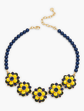 Enamel & Crystal Flowers Necklace