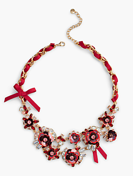 Sequin & Ribbon Statement Necklace