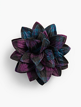 Lavish Purple/Blue Plaid Corsage Pin