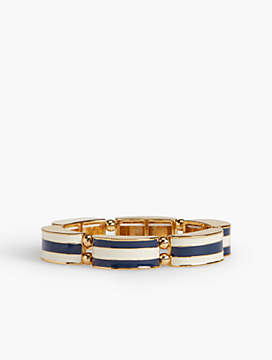 Striped Enamel Stretch Bangle