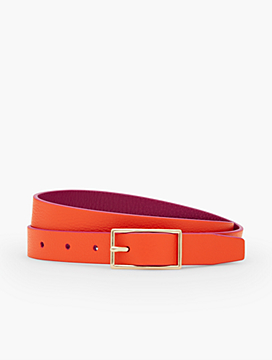 Reversible Harness-Buckle Pebbled Leather Belt