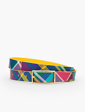 Reversible Harness-Buckle Printed Saffiano Leather Belt