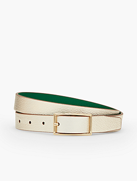 Reversible Harness-Buckle Metallic Pebbled Leather Belt