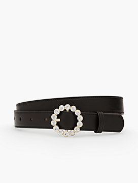 Womans Exclusive Jewel-Buckle Leather Belt